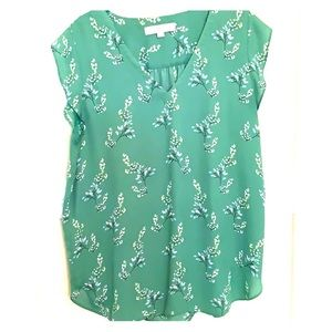 Green floral Loft blouse